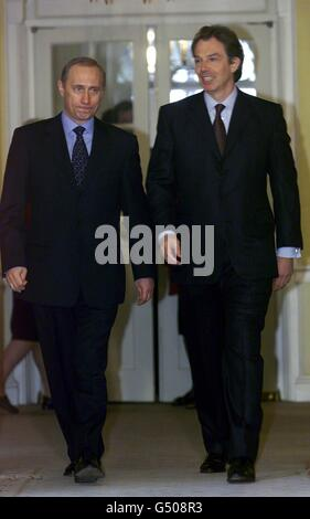 Blair Putin Visit Downing St London - Stock Photo