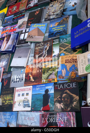 A great spread of books at a brocante (flea market) just outside Paris. - Stock Photo