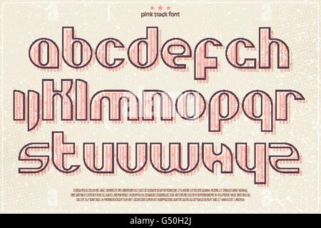 set of pink stamp style alphabet letters over grunge paper texture. vector font type design. modern, bold lettering - Stock Photo