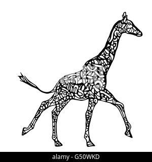 Running giraffe vector. Black and white giraffe illustration - Stock Photo