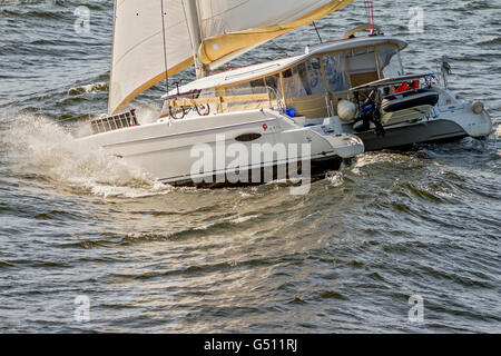 Yacht Caught In a Stormy Sea Oslo Fjord Norway - Stock Photo