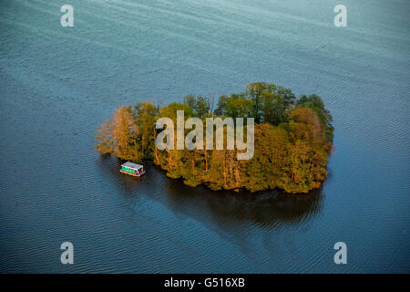 Aerial view, Muritz with heart-shaped island and residential boat and pleasure boat in the sunset, Vipperow, Mecklenburg - Stock Photo