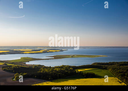 Aerial view, looking from Ludorf on the Müritz, great Schwerin, nature reserve, Ludorf, Mecklenburg Lake District, - Stock Photo