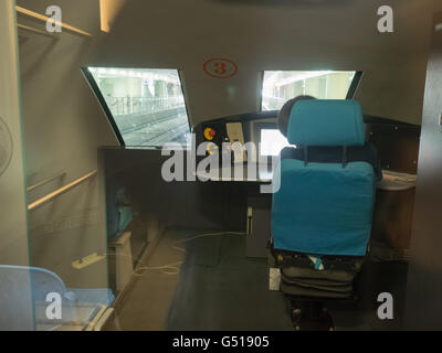 China, Shanghai, train driver's cockpit in the Transrapid - Stock Photo