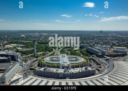 Aerial view, car park and airport Hotel Airport Dusseldorf Lohhausen, Dusseldorf, Rhineland, North Rhine Westphalia, - Stock Photo
