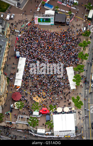 Aerial view, Soccer World Cup 2014, aerial view, Public Viewing in the town square before Recklinghauser City Hall - Stock Photo