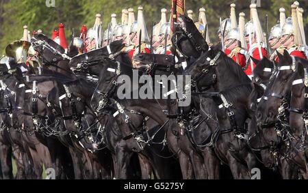 Household Cavalry Diamond Jubilee preparations - Stock Photo