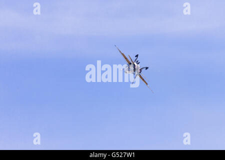 A RCAF CF-18 Hornet performs at the Great Lakes International Airshow in St. Thomas Ontario, Canada. - Stock Photo