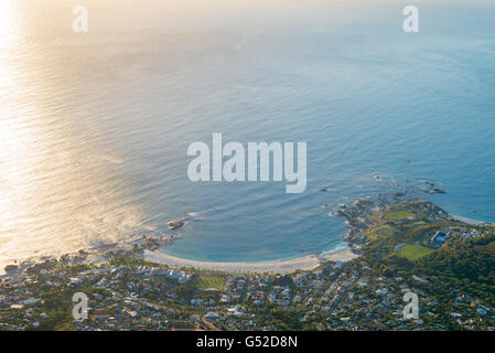 South Africa, Western Cape, Cape Town, View of Camps Bay from Table Mountain - Stock Photo