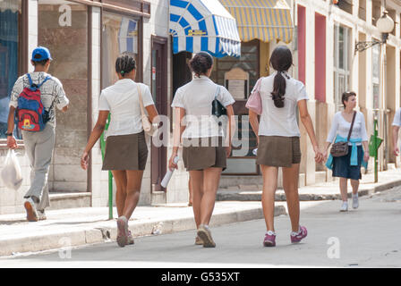 Cuba, Havana, schoolgirl in uniform - Stock Photo