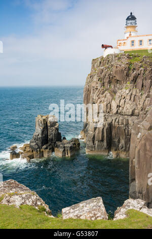 United Kingdom, Scotland, Highland, Isle of Skye, Glendale, sheep on the pasture, sheep on Neist Point, a peninsula - Stock Photo