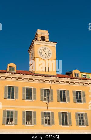 Tour de l'Horloge of the Palais de Justice at Rue Fodéré, Nice, Provence-Alpes-Côte d'Azur; France - Stock Photo