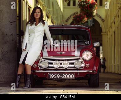 Mini Classic Car - Jade Jagger - Covent Garden, London - Stock Photo