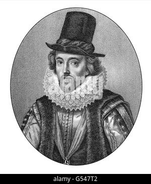 Francis Bacon or Baron Baco of Verulam, 1561 - 1626, an English philosopher, statesman and scientist - Stock Photo