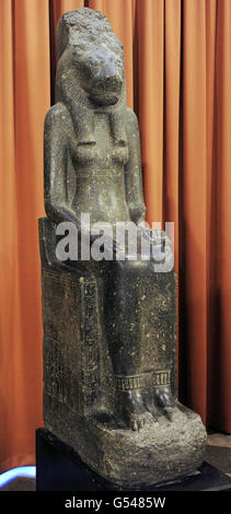 Statue of the Goddess Sekhmet-Mut. 14th c. BC. New kingdom, 18th Dynasty. Granite. The State Hermitage Museum. Saint - Stock Photo