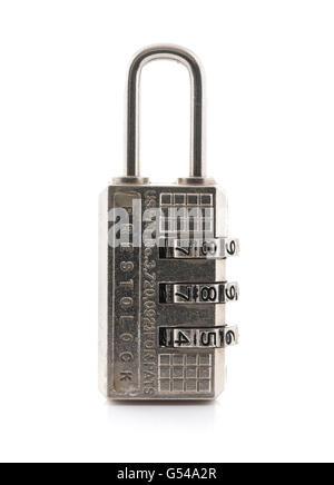 Prestolock combination padlock on a white background - Stock Photo