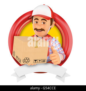 3d logo illustration. Courier service. Messenger. Isolated white background. - Stock Photo