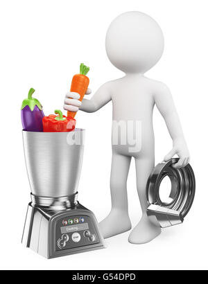 3d white people. Man cooking healthy in a food processor. Vegetables. Isolated white background. - Stock Photo