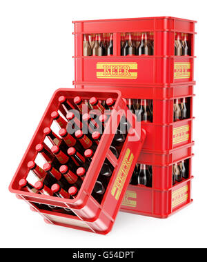 3d white people. Four 3d beer bottle boxes. Isolated white background. - Stock Photo