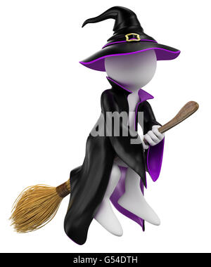 3d white people. Halloween. Witch flying on her broomstick. Isolated white background. - Stock Photo