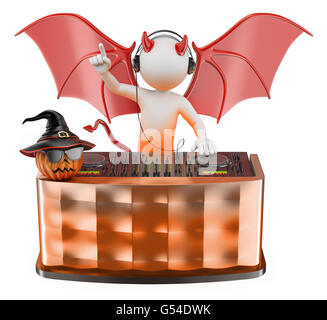 3d white people. DJ playing music at a Halloween party with a devil custome. Isolated white background. - Stock Photo