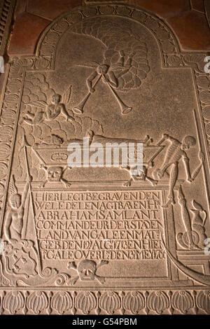 L1824Sri Lanka, Galle Fort, Church Street, Groote Kerk or Dutch Reformed Church,  Abraham Samlant, 1766 gravestone - Stock Photo
