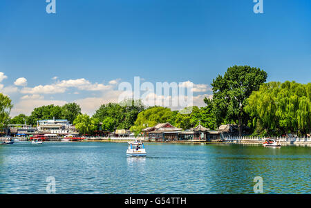 Qianhai lake in Shichahai area of Beijing - Stock Photo