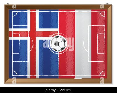 Soccer field drawing with austrian and iceland flag in background - Stock Photo