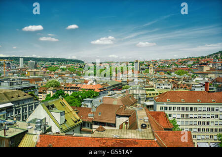 June 2016, urban capture of Zurich, HDR-technique - Stock Photo