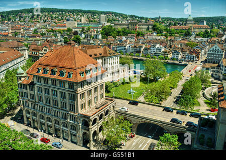 June 2016, urban capture of Zurich including the main buildings of the two universities ETH and UZH, HDR-technique - Stock Photo