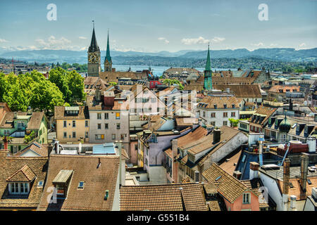 June 2016, urban capture of Zurich, focus on the Lake Zurich and the churches Frauenmünster and St. Peter, HDR-technique - Stock Photo