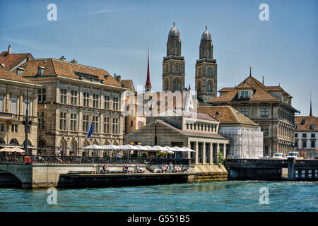 June 2016, urban capture of Zurich, focus on Great Minster Cathedral, the townhall and  the river Limmat, HDR-technique - Stock Photo