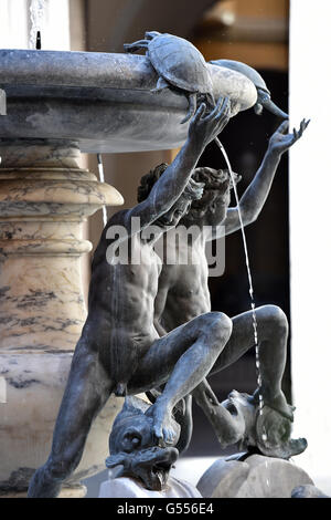 turtle and boys Fountain, Rome, Fontana Monumentale Delle Tartarughe - Stock Photo