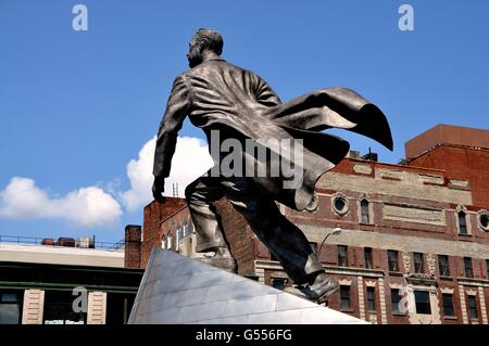 New York City:  Statue of the late Congressman Adam Clayton Powell on West 125th Street in Harlem - Stock Photo
