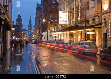 London, England, St. Martin's Lane, Noel Coward Theatre, other theatres, Church of St. Martin-in-the-Fields, dusk, - Stock Photo