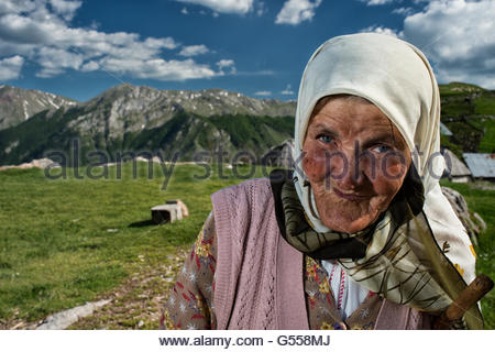 An old woman by Lukomir, the most remote and higher village of Bosnia-Erzegovina  Europe - Stock Photo