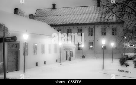Winter tale in Oslo, Norway - National Museum of Cultural History covered by snow - Stock Photo