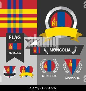 Set of Mongolia flag, emblem and pattern background. - Stock Photo