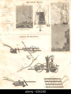 DIVING BELLS: Halley's & Spalding's Bells. Agriculture: Drill Husbandry, 1830 - Stock Photo