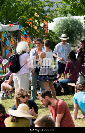 People attending the annual The Hay Festival of Literature and the Arts, 'the Woodstock of the Mind', Hay on Wye, - Stock Photo