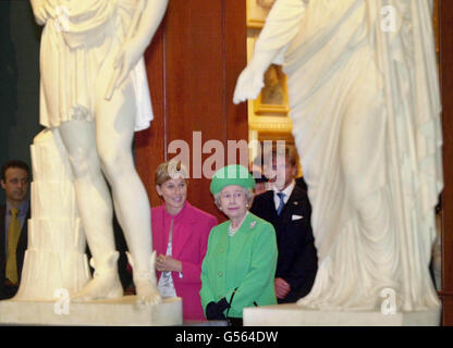 Britain's Queen Elizabeth II, centre, at the National Gallery of Modern Art in Rome, on the second day of her state - Stock Photo