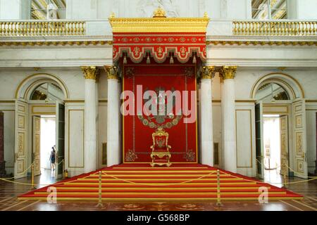 Throne in St George Hall, or Great Throne Room, Winter Palace, State Hermitage Museum, Saint Petersburg, Russia - Stock Photo