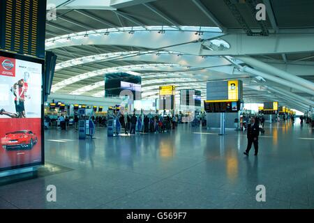 Interior of Terminal 5, Heathrow Airport,  London, England, UK, GB, - Stock Photo