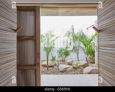 Plants outside lower level bathroom. Casa Cal, Puerto Escondido, Mexico. Architect: BAAQ, 2015. - Stock Photo