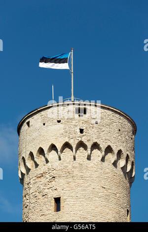 The Estonian Flag on the Tower on the Toompea Hill, Tallinn, Estonia - Stock Photo