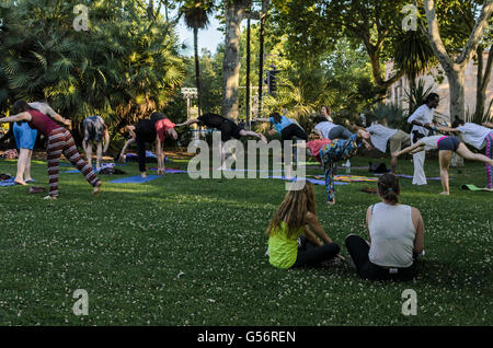 Madrid, Spain. 21st June, 2016. People practising Yoga exercises in a park of Debod Temple, Madrid, Spain. Credit: - Stock Photo