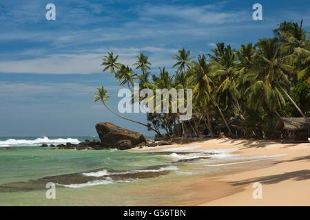 Sri Lanka, Galle Province, Unawatuna, Thalpe, Wijaya, idyllic tropical beach - Stock Photo