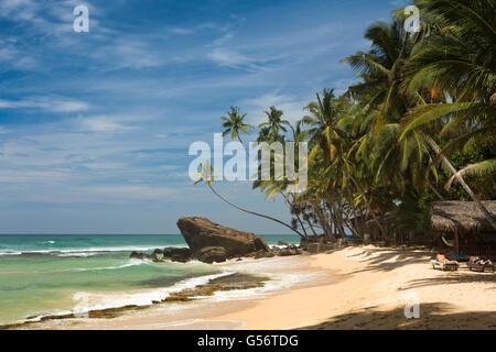 Sri Lanka, Galle Province, Unawatuna, Thalpe, Wijaya, rocky headland between beaches - Stock Photo