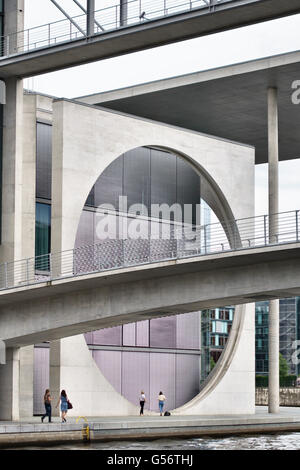 Berlin. The Marie-Elisabeth-Lüders-Haus, a government building on the River Spree near the Reichstag (Stephan Braunfels, - Stock Photo
