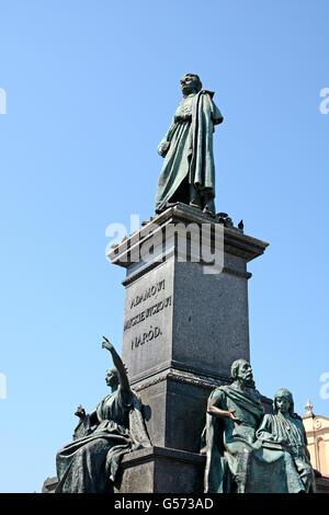 Adamowi Mickiewiczowi monument main market square Krakow Poland - Stock Photo